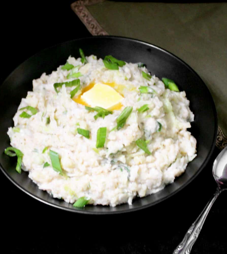 Vegan Colcannon with sauerkraut in a bowl