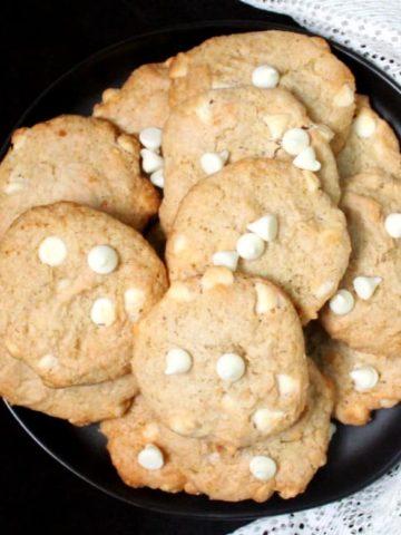 A close top shot of several vegan chocolate chip banana cookies