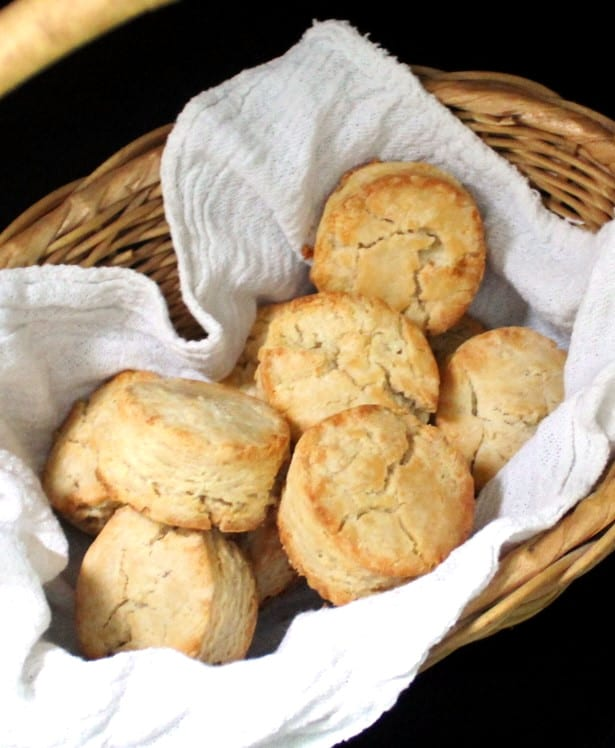 Vegan sourdough biscuits in a basket.