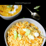 Carrot Rice, an Indian veg dish with rice and carrots sauteed with onions and spices. Easy, one-pot