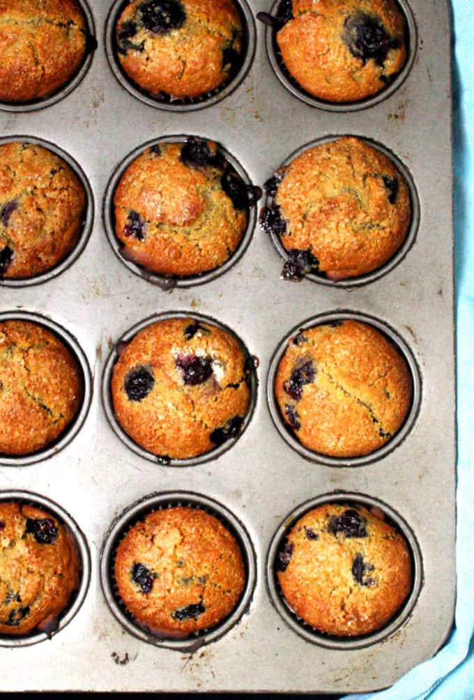 Overhead shot of a muffin pan with golden vegan sourdough blueberry muffins.