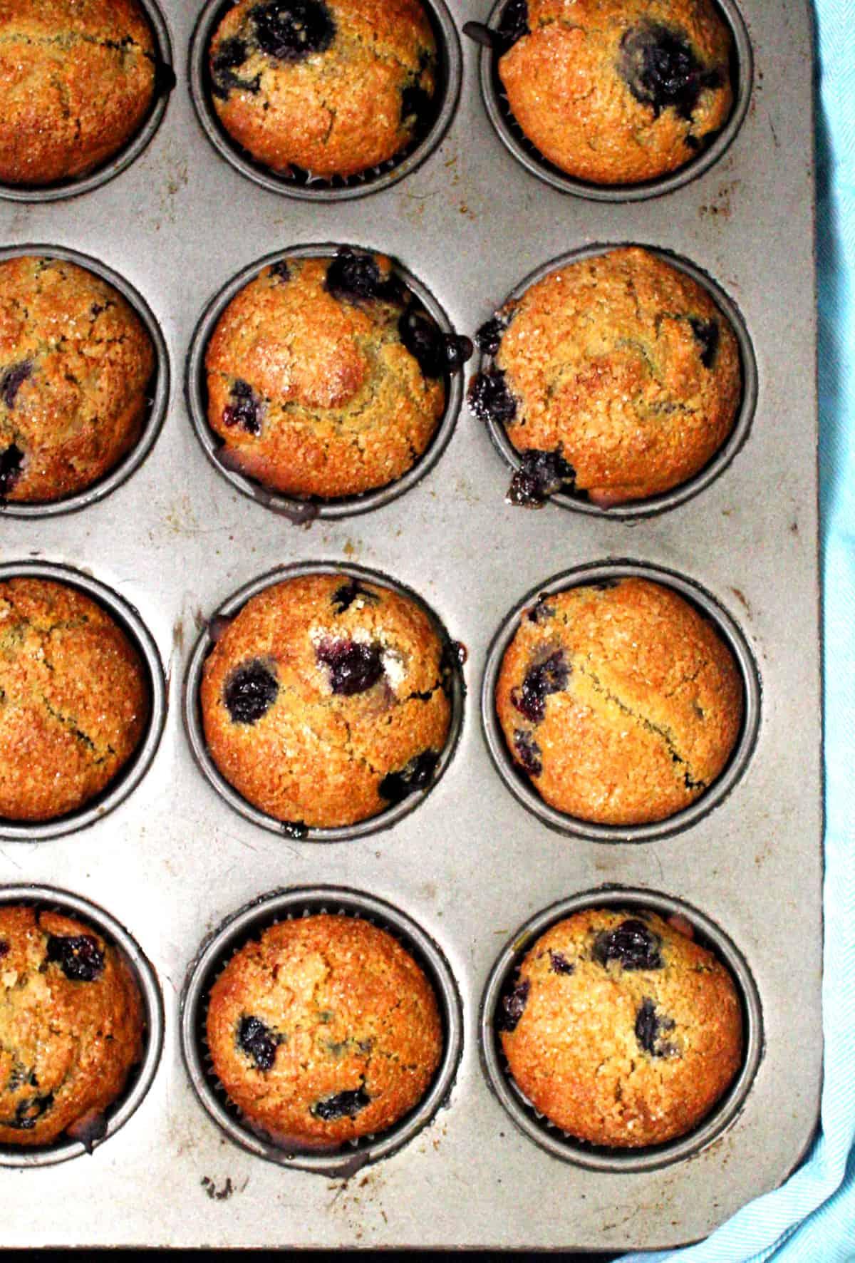 Overhead shot of a muffin pan with golden vegan sourdough blueberry muffins.
