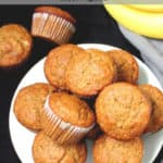 "Vegan banana muffins pin image with text inlay that says ""vegan banana muffins, one-bowl, wholegrain, soy-free"""