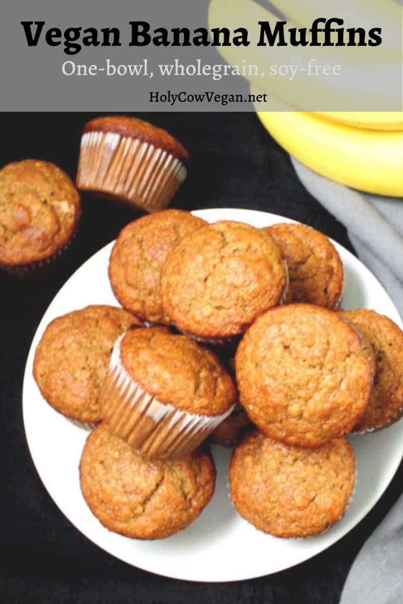 Exploding with banana flavor and a hint of cinnamon, these vegan Banana Muffins will have you coming back for more, and then one more. They are whole wheat, with the goodness of flax and applesauce. Vegan, soy-free, nut-free, one-bowl recipe.