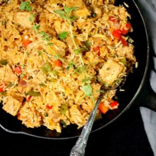 "Vegan Arroz con Pollo, Spanish ""chicken"" and rice"