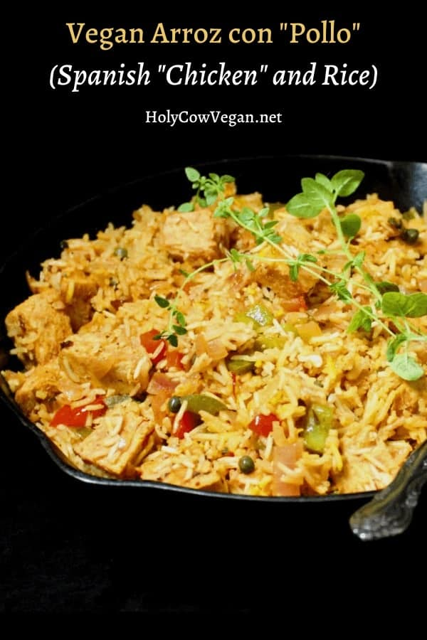 Arroz con Pollo is a popular Spanish/Latin American one-pot dish of chicken and rice flavored with bell peppers, onions, saffron and, sometimes, olives. My vegan version takes a pass on the pollo, but is just as flavorful and even more wholesome. A vegan, nut-free recipe, can be gluten-free and soy-free. #vegan, #spanish, #meatless, #rice | HolyCowVegan.net