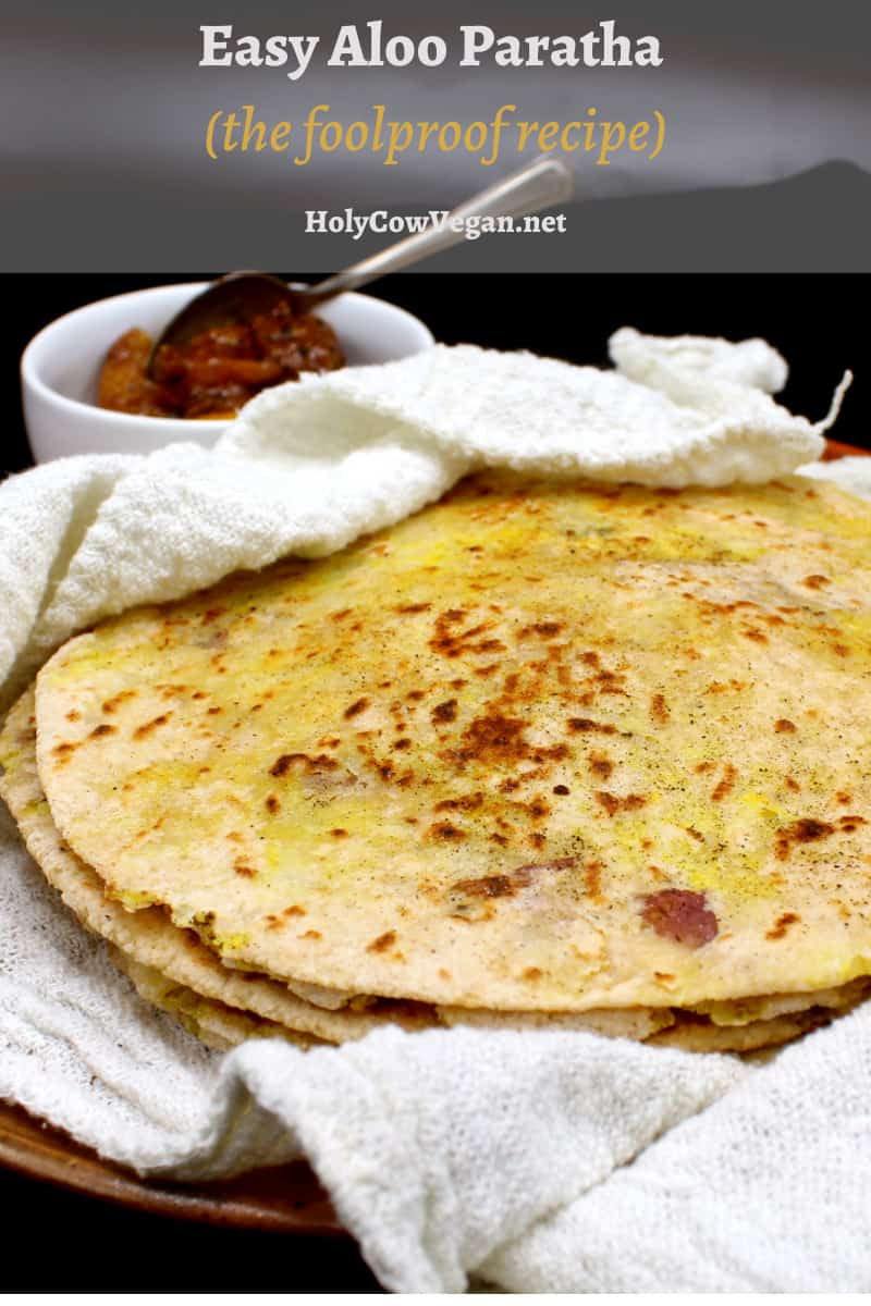 A foolproof recipe for the north Indian, restaurant-style flatbread, Aloo Paratha, with step by step instructions and photos. Vegan, soy-free and nut-free recipe.