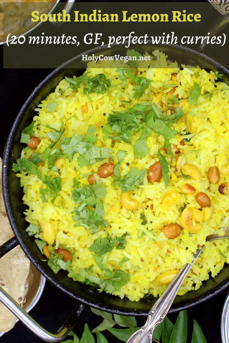Although south Indian in origin, this fragrant lemon rice can accompany nearly any meal anywhere in the world. Long grains of basmati rice are tempered with mustard seeds, lentils, chili peppers and nuts, and lots of tangy lemon juice ties all these vibrant flavors together. A vegan, soy-free, gluten-free recipe, can be nut-free. #vegan, #rice, #southIndian, #lemon | HolyCowVegan.net