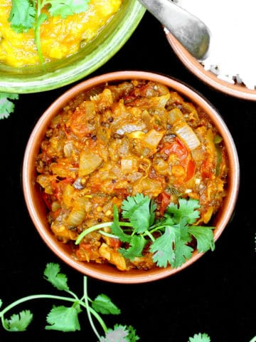 Baingan Bharta, Indian fire roasted eggplant in a tomato onion sauce
