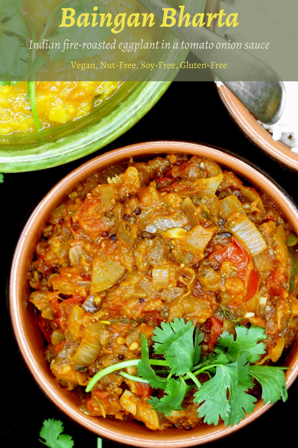 Baingan Bharta. This north Indian dish of fire-roasted eggplant mashed and cooked with tomatoes and onions is an Indian restaurant favorite, and it's amazing with naan or roti or a simple Indian dinner of dal and rice. A vegan, soy-free, nut-free and gluten-free recipe. #vegan, #eggplant, #Indian | HolyCowVegan.net