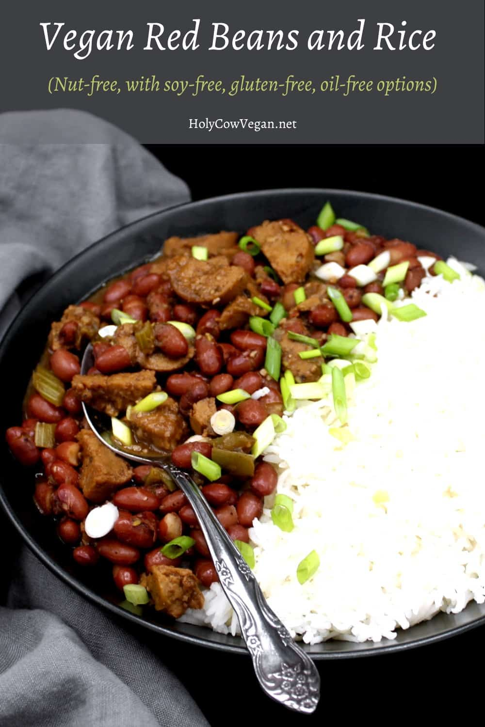 Photo of red beans and rice in a black bowl with a spoon.
