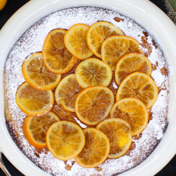 vegan clementine cake on a plate