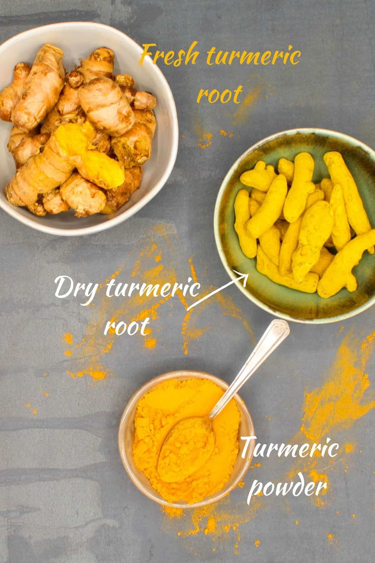 Different types of turmeric--dry root, fresh root and turmeric powder