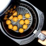 Vegan Air Fryer Meatballs in the air fryer basket
