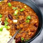 Bowl of Instant Pot Vegan Chili with mashed potatoes