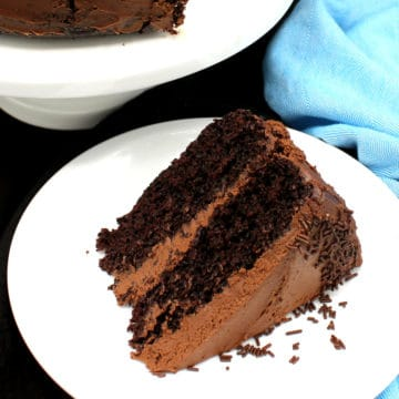 Slice of vegan chocolate cake with chocolate buttercream frosting
