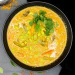 easy, spicy edamame curry in a black bowl with garam masala and cilantro