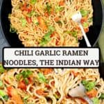 Pin with images of chili garlic instant ramen noodles with overlay text of the name