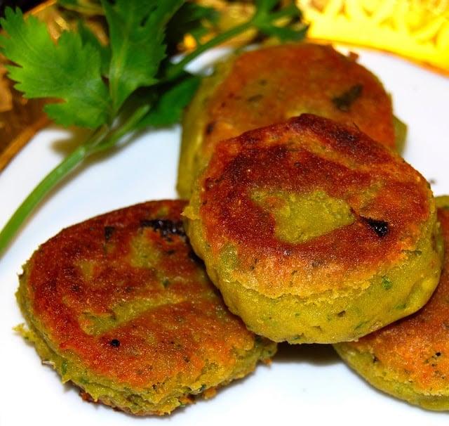 Closeup photo of golden-green avocado shami kababs.