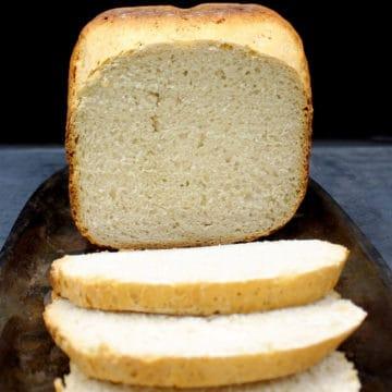 Bread machine sourdough bread , sliced