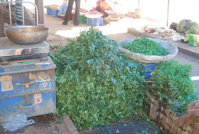Photo of stacks of curry leaves at Madurai market