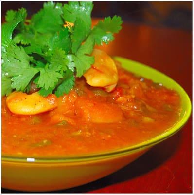Photo of spicy fava bean eggplant stew with cilantro garnish.