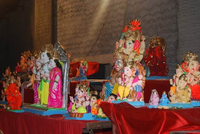 Photo of many colorful Ganesh idols in Mumbai.