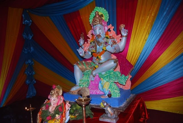 A colorful Ganesh idol at a pandal in Bombay.