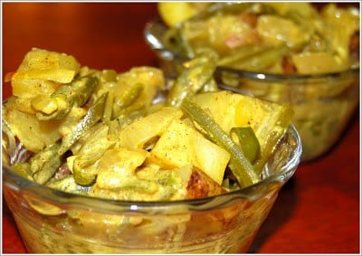 Photo of green beans and potato curry with Trini spices.