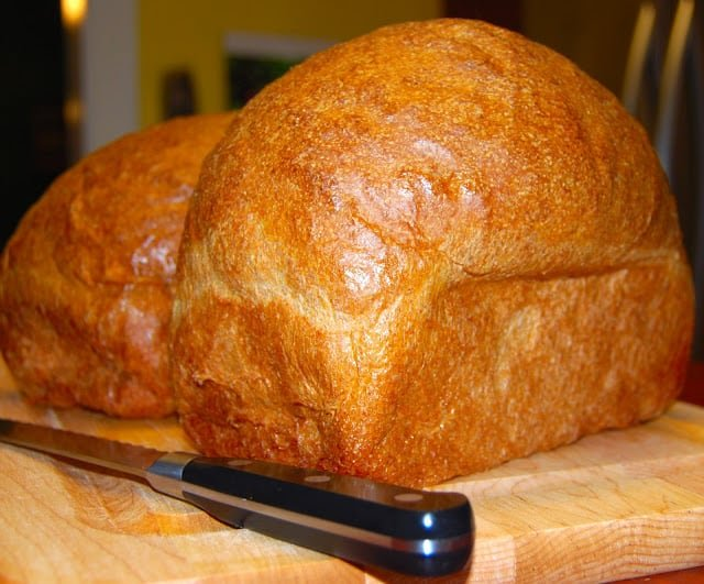Photo of two loaves of high protein whole wheat sandwich bread.
