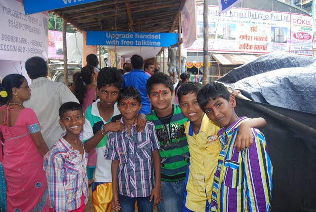 Boys outside a Ganesh pandal in Bombay