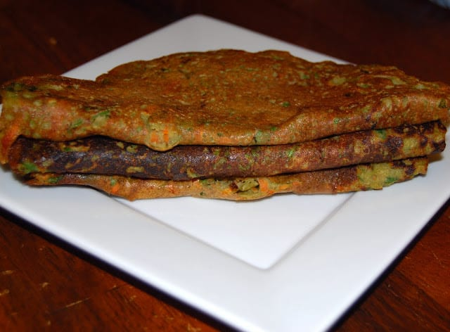 Photo of a stack of sprouted moong chilla