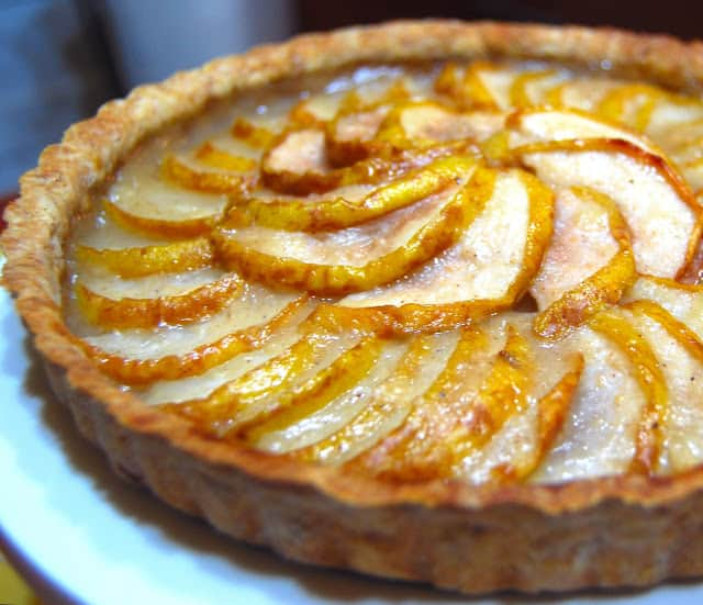 Photo of vegan pear and almond tart with whole wheat crust.