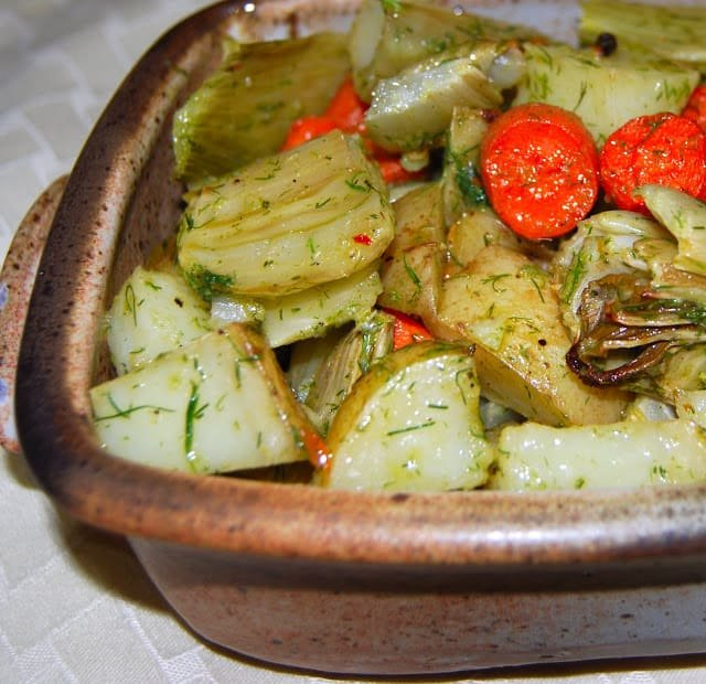 Photo of roasted vegetables with fennel vinaigrette