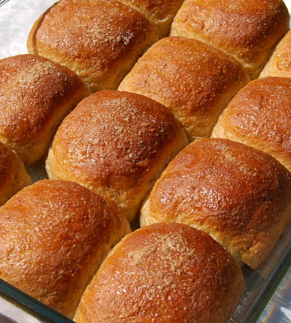 Photo of saffron buns baked in a slab.