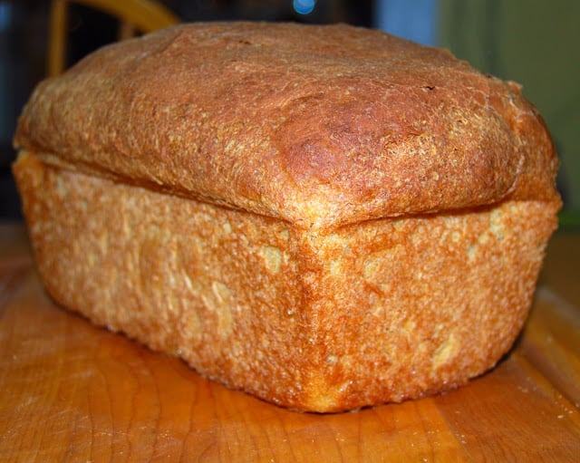 Photo of a perfect loaf of vanilla bread.