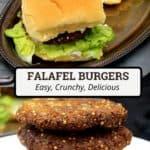 Pinterest pin image of falafel burgers