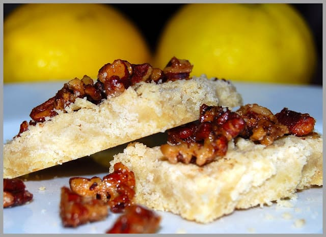 Photo of vegan lemon shortbread with candied pecan topping.