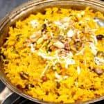 Vegan Zarda in a silver serving bowl