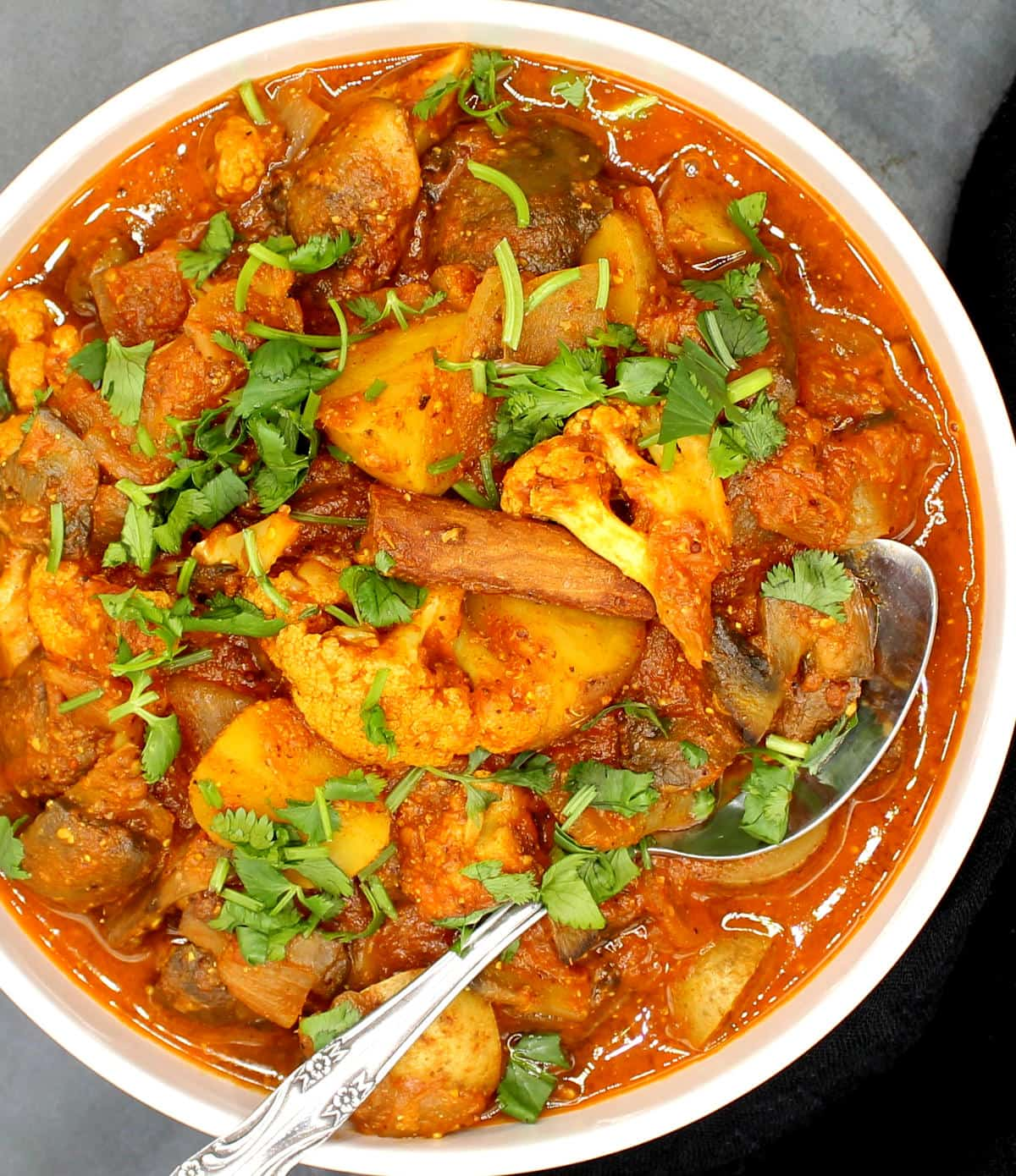 Overhead photo of vegetable vindaloo in a white bowl with cilantro.