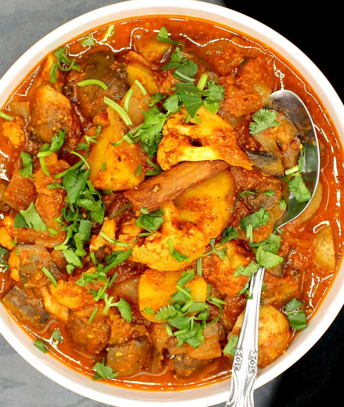 Overhead photo of a bowl of vegan vindaloo packed with vegetables.