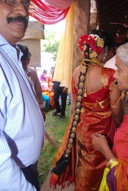 Bride walking away at a wedding in Madurai