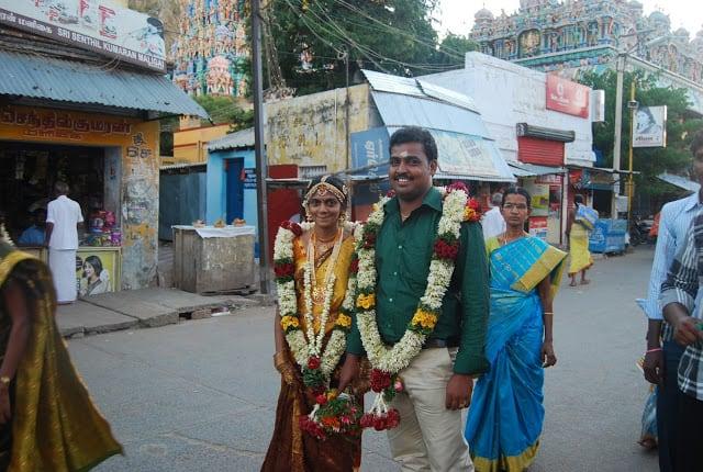 Bride and groom at a Madurai wedding