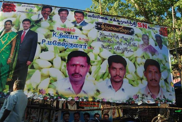 Photo of a  wedding invitation poster in Madurai.