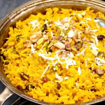 Zarda Pulao in a silver serving dish