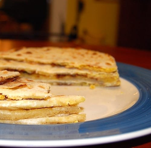 Photo of puran poli with the chickpea stuffing inside.