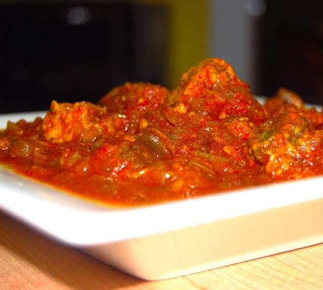 Front photo of the Ethiopian dish vegan doro wat made with eggplants and mushrooms.
