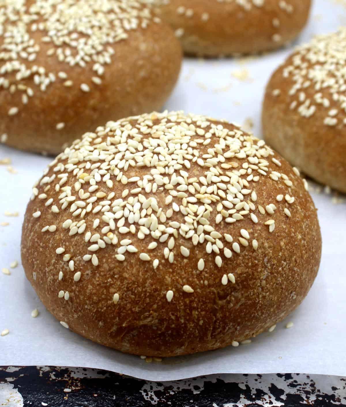 Closeup photo of a vegan whole wheat burger bun