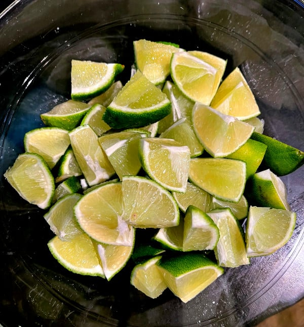 Quartered limes for Indian lime pickle