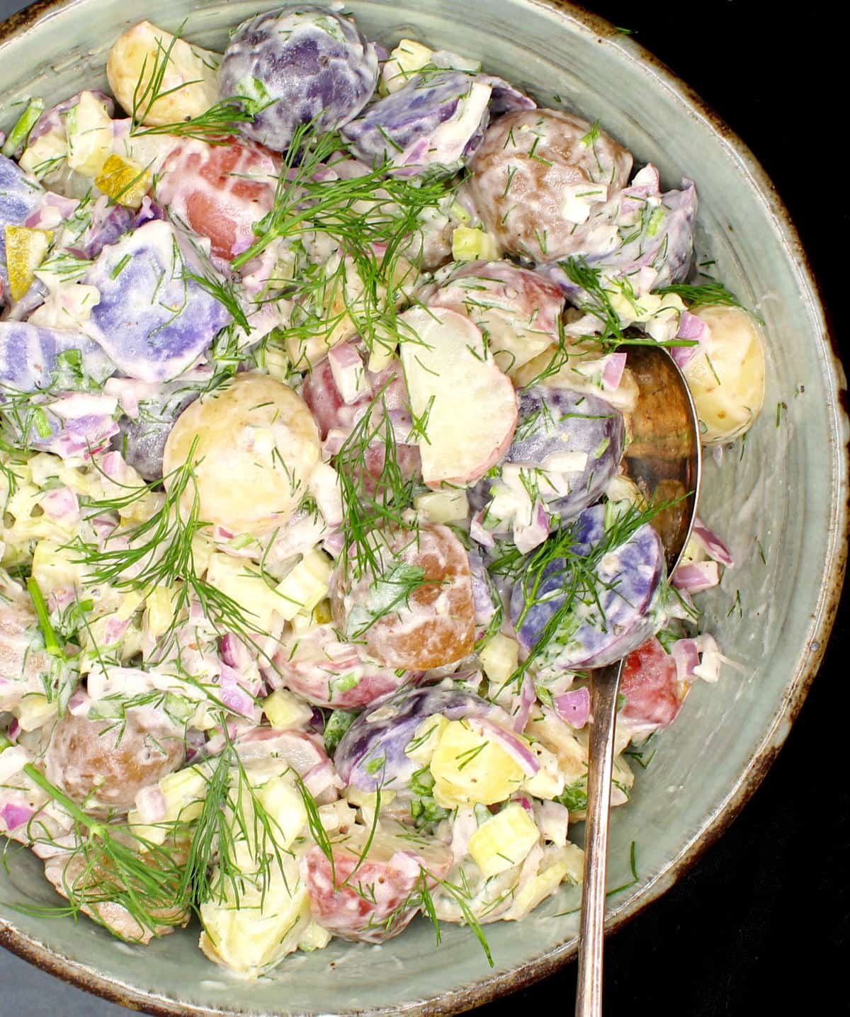 Photo of vegan potato salad in a clay glazed bowl with multicolored baby potatoes, creamy mayo and wisps of dill.